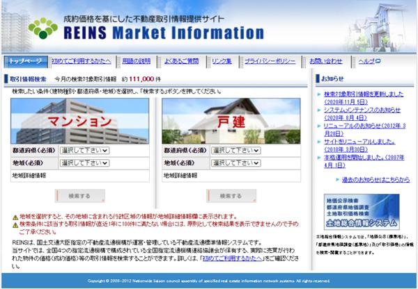 空き家売却の相場の調べ方 レインズマーケットインフォメーション
